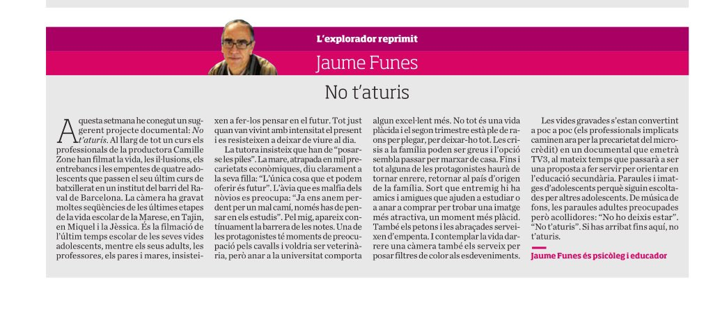 NO T'ATURIS · article Jaume Funes