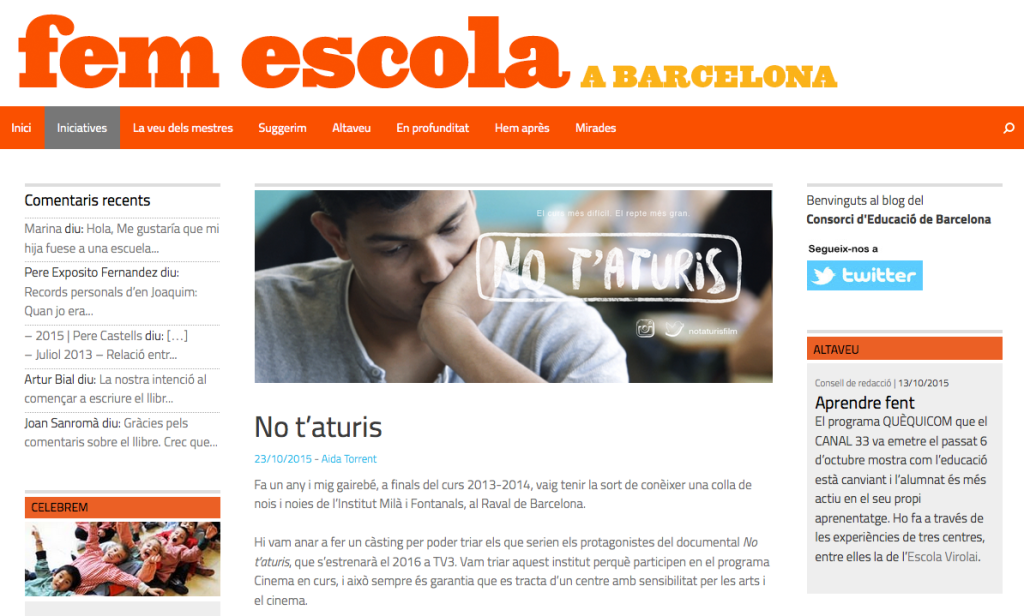 No t'aturis - Fem Escola
